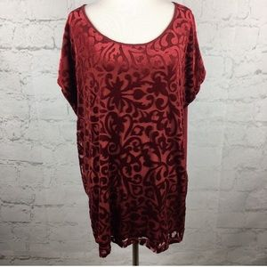Brand New W/out Tag 3x Burgundy Velvet Burnout Top